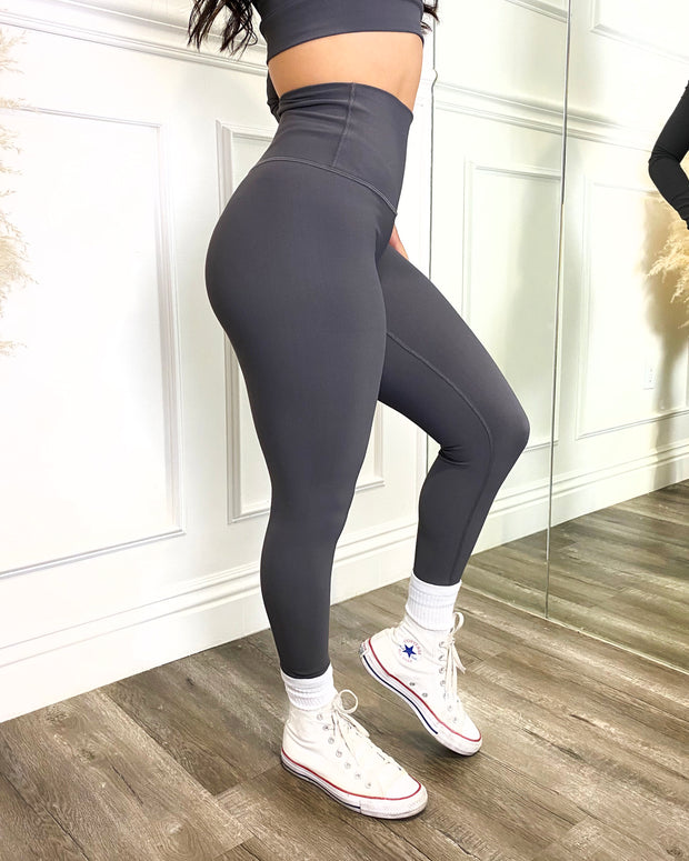 Ribbed Active Leggings (Charcoal)