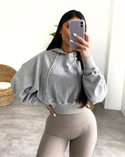 Oversized Cropped Hoodie (Heather Gray)