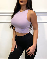 Solid Highneck Crop Top (Pastel Lavender)
