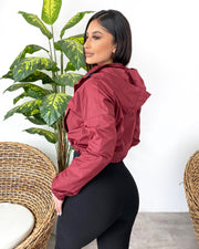 Retro Cropped Windbreaker (Burgundy)