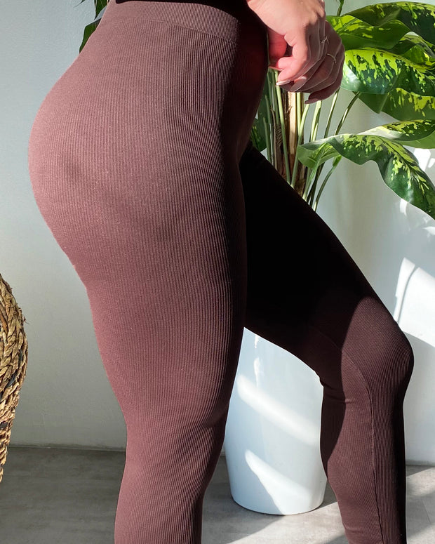 Ribbed Everyday Leggings (Chocolate)
