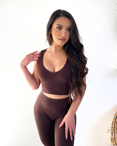 Ribbed V-Neck Crop Top (Chocolate)