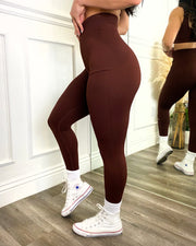 Seamless Ribbed Active Leggings (Rust)