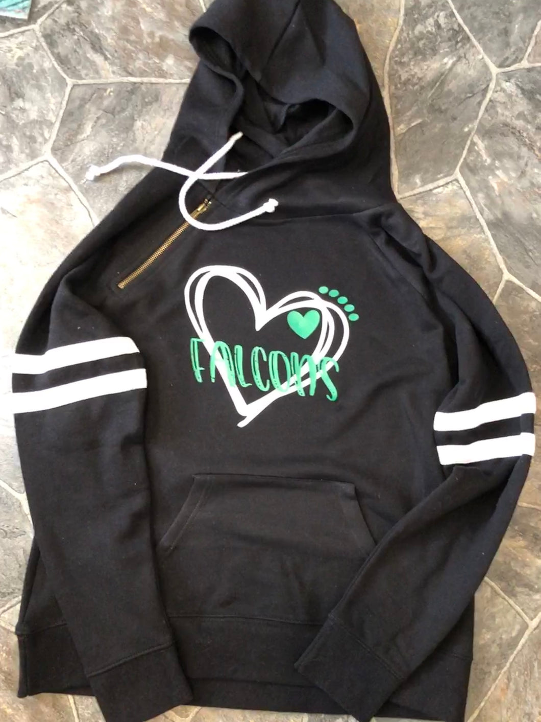 Ladies Varsity Falcon Heart Hooded Pullover