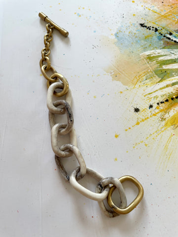Carved Antler Chain Bracelet