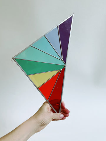 Rainbow Corner Stained Glass Triangle