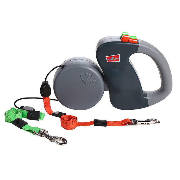 Non-Tangle Dual Retractable Dog Leash
