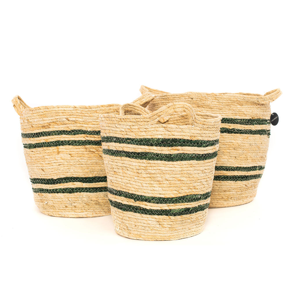 Round Maize Natural & Green Stripe Basket