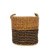 Natural Seagrass and Black Jute Basket