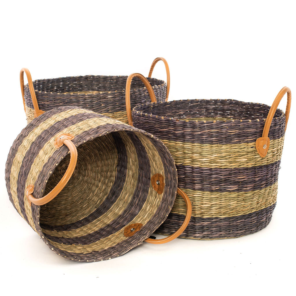 Seagrass Grey Natural Stripe Basket