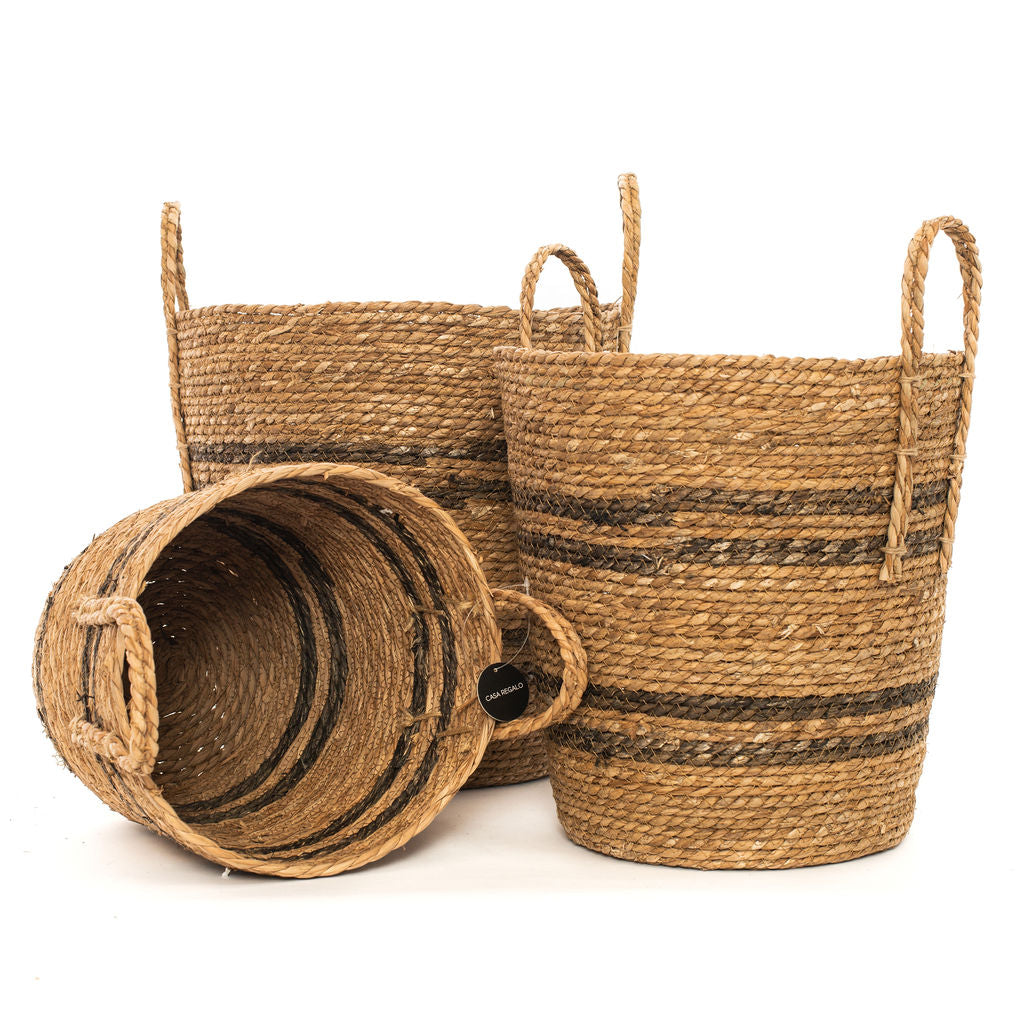 Round Seagrass Natural Stripe Basket