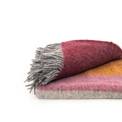 Recycled Wool Block Throw (Red, Orange, Pink)