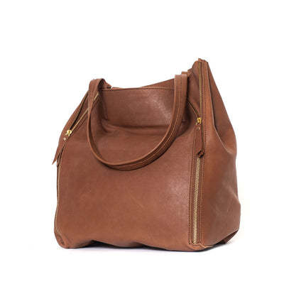 Ash Zip Tote (Black & Tan)