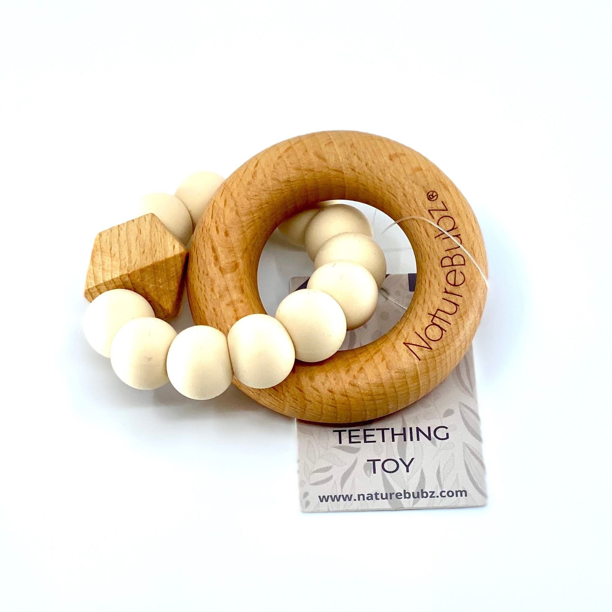 Hexa Teether with Beech Ring (Cream)