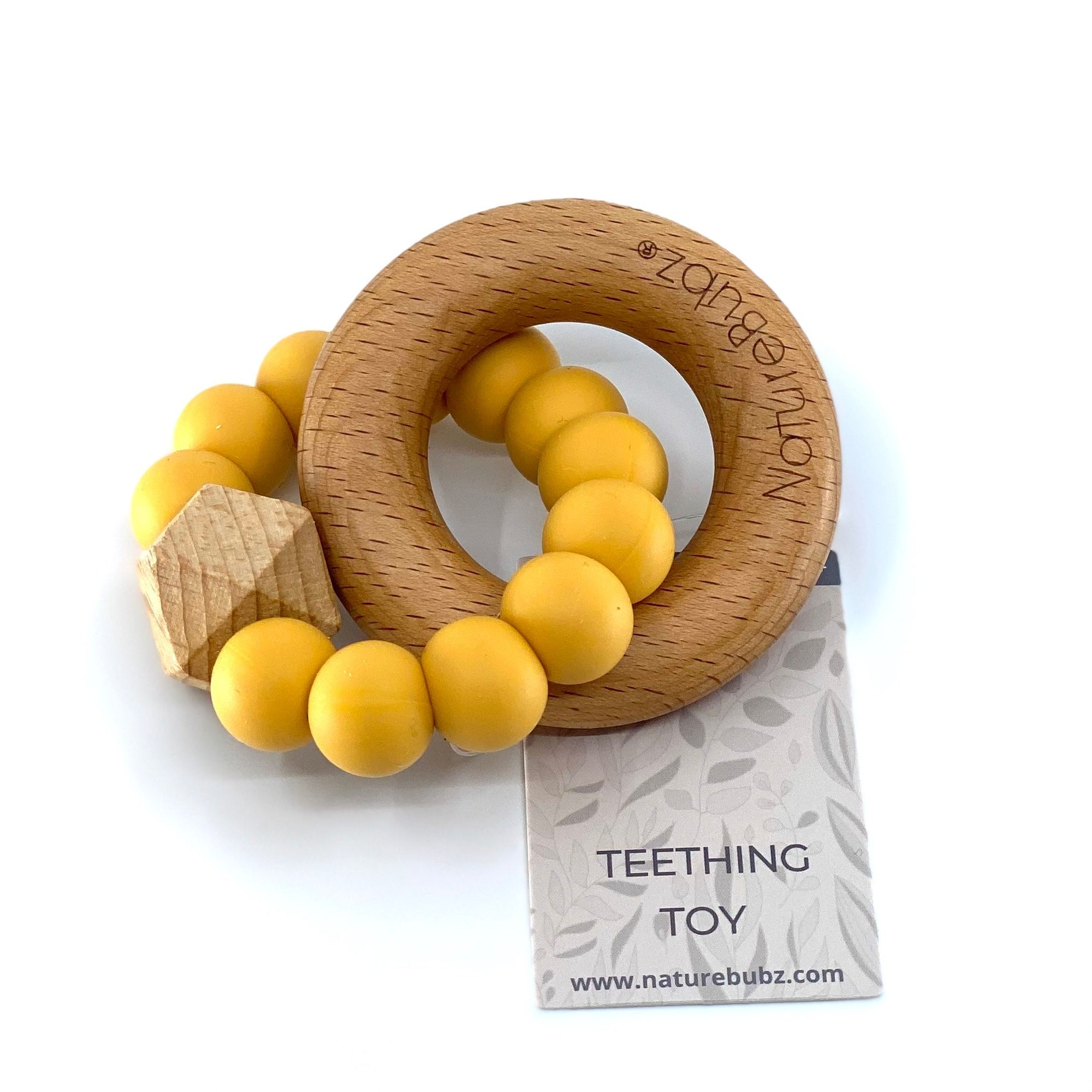 HEXA Teether with Beech Ring (Mustard)