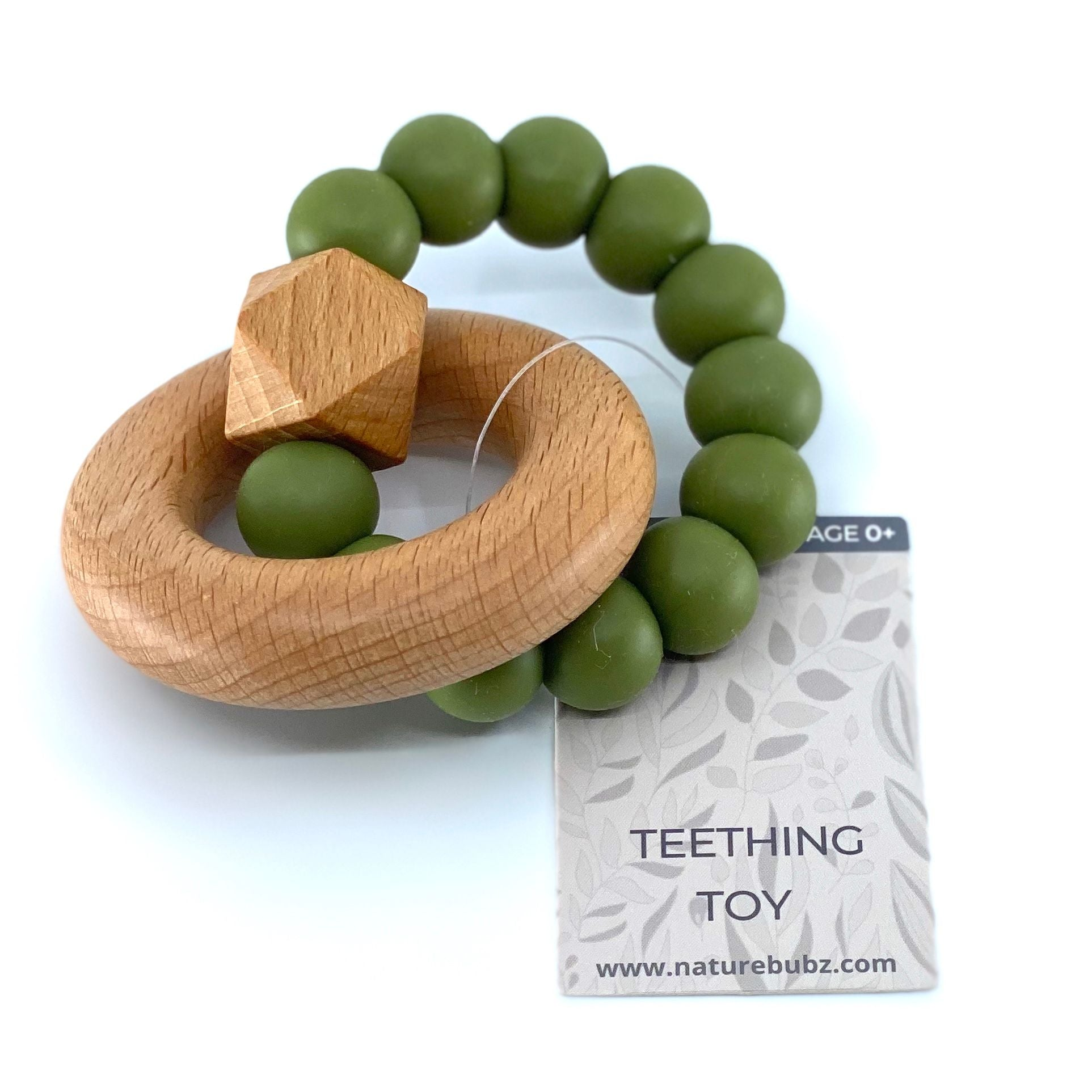 Hexa Teether with Beech Ring (Olive)