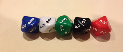 10 sided Decimal Dice assorted