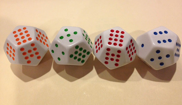 12 sided spotted dice gigglenook math store