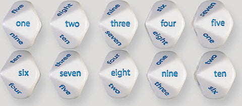 10 Sided English Word Number Dice One to Ten