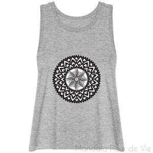 Débardeur court - Lotus Mandala-Heather Grey-XS-Mandala Fleur de vie