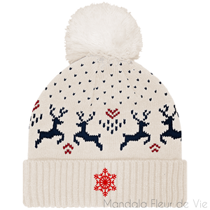 Bonnet Hiver Rennes & Flocon-Natural / Night Navy-TU-Mandala Fleur de vie