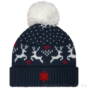 Bonnet Hiver Rennes & Flocon-Night Navy / Natural-TU-Mandala Fleur de vie