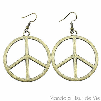 Boucles d'oreilles Peace and Love-Couleur Bronze Antique-Mandala Fleur de vie