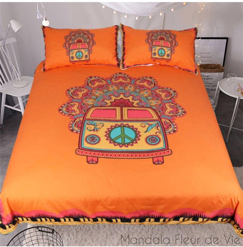 Housse de Couette Mandala Hippie Van-1- Orange-AU Single-Mandala Fleur de vie