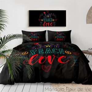Housse de Couette Mandala Hippie Van-8-Peace & Love-AU Single-Mandala Fleur de vie