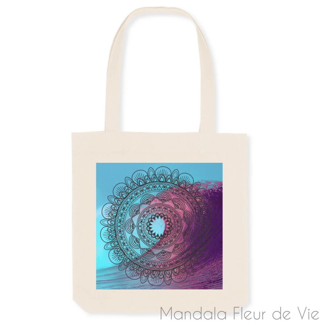 Tote Bag Mandala Vague-Unique-Blanc-Mandala Fleur de vie