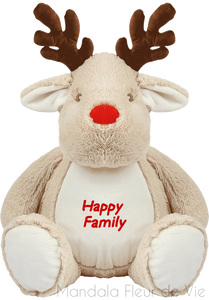 "Peluche Renne ""Happy Family""-Light Brown-TU-Mandala Fleur de vie"