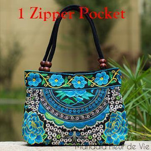 Sac à main Mandala-One Zipper Pocket B-Mandala Fleur de vie