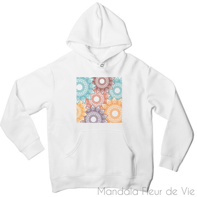 Sweat à capuche Mandala Couleurs