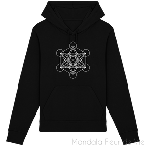 Sweat-Shirt Metatron Blanc-Black-XXS-Mandala Fleur de vie