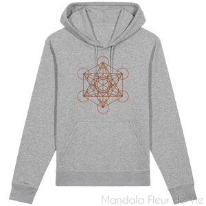 Sweat-Shirt Metatron Marron-Heather Grey-XXS-Mandala Fleur de vie