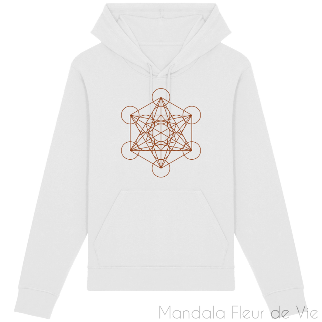 Sweat-Shirt Metatron Marron-White-XXS-Mandala Fleur de vie