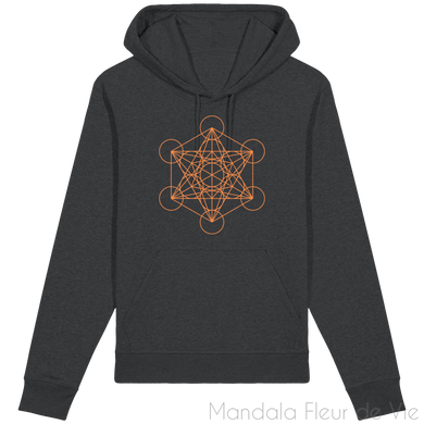 Sweat-Shirt Metatron Orange-Dark Heather Grey-XS-Mandala Fleur de vie