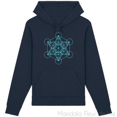 Sweat-Shirt Metatron Turquoise-French Navy-XXS-Mandala Fleur de vie