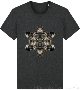 "T-shirt Cube de Metatron ""Univers""-Dark Heather Grey-XS-Mandala Fleur de vie"