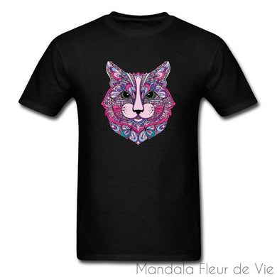 T Shirt Mandala Animal Chat-Mandala Fleur de vie