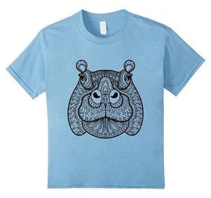 T Shirt Mandala Animaux<br> Happy Hippo Mandala Yogatraining-Blue-S-