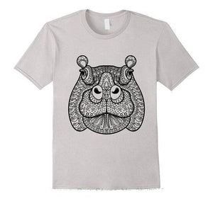 T Shirt Mandala Animaux<br> Happy Hippo Mandala Yogatraining-Gray-S-