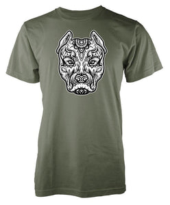 T Shirt Mandala Animaux<br> Pitbull-2-L-