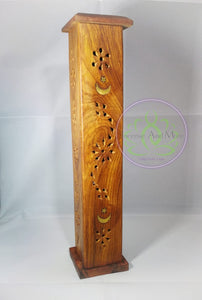 Moon & Star Tower Wood Incense Burner
