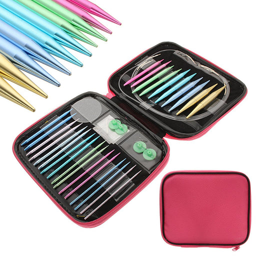 Circular Knitting Needle Set, 2.75mm-10mm Aluminium Circular Crochet Knitting Needle Set Case