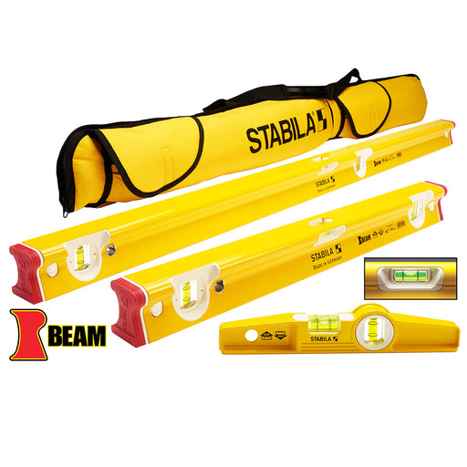 Stabila 48410 Heavy Duty Aluminum Rectangle R-Beam 3 Level Set w/ Case