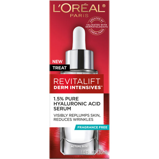 L'Oreal Paris Revitalift Derm Intensives Hyaluronic Acid Serum, Paraben Free, 1 fl. oz.