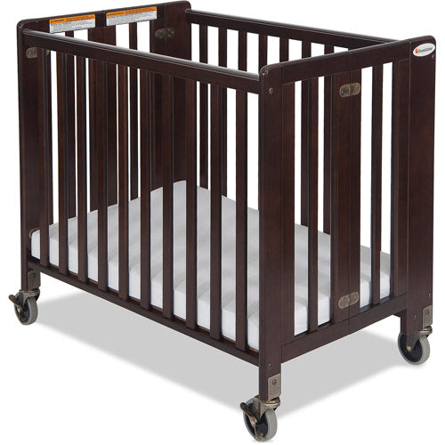 Foundations HideAway Compact Portable Wood Crib with Mattress, Antique Cherry