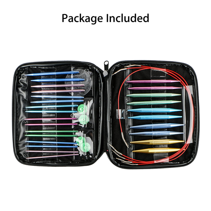 Aluminum Circular Knitting Needles Set, 13 Sizes Interchangeable Knit Needles with Storage Case for Any Crochet Patterns & Yarns Projects