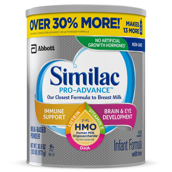 Similac Pro-Advance Non-GMO with 2'-FL HMO Infant Formula with Iron for Immune Support, Baby Formula 30.8 oz Can